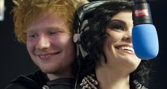 Ed Sheeran and Jessie J backstage at the Summertim