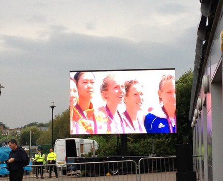 Kat Copeland on a big screen at her homecoming