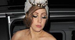 Lady Gaga wearing a revealing wedding dress
