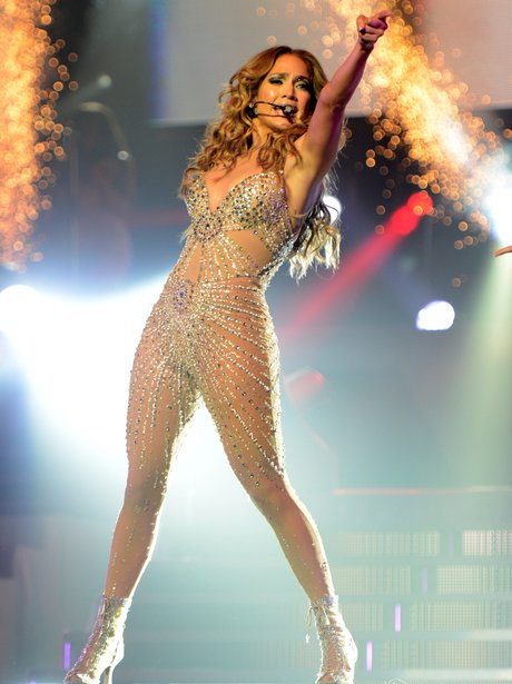 Jennifer Lopez performing on her tour.