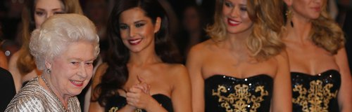 Girls Aloud with Queen Elizabeth at Royal Variety