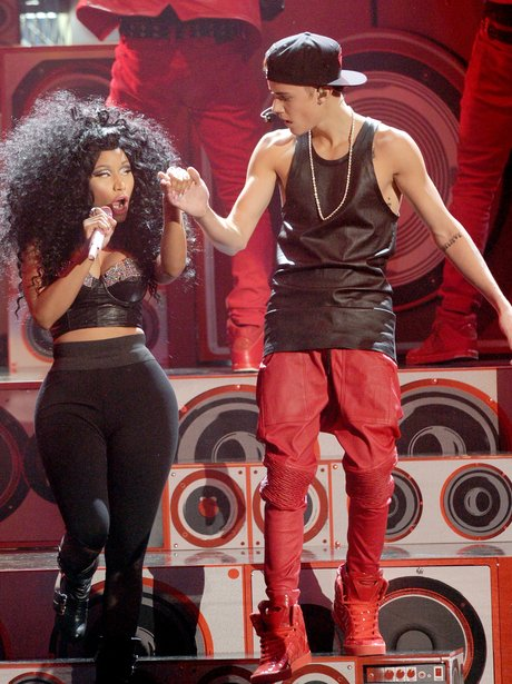 Nicki Minaj (L) and Justin Bieber perform onstage