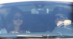 Justin Bieber and Selena Gomez in his Ferrari