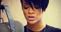 Rihanna in the studio