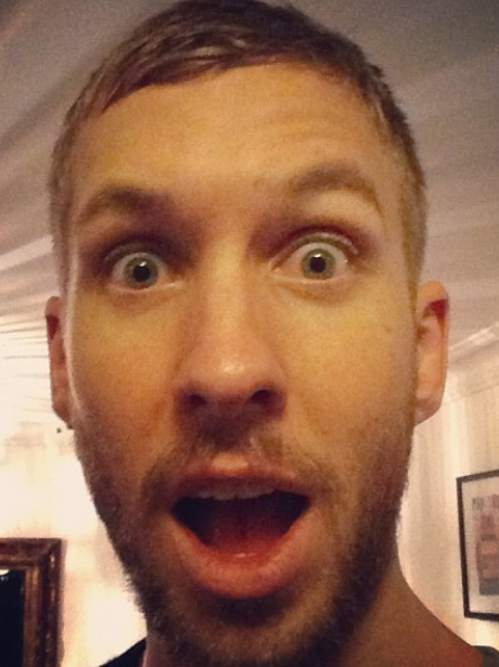 Calvin Harris with his mouth open