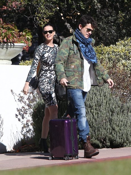 Katy Perry & John Mayer leaving a home in Santa Mo