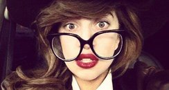 Lady Gaga wearing big glasses