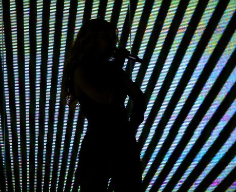 Beyonce performs in silhouette at the US Super Bowl
