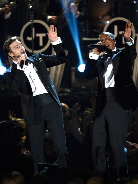 Justin Timberlake and Jay Z perform at the Grammy