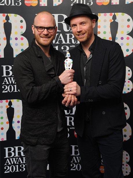 Coldplay backstgae at the BRIT Awards 2013