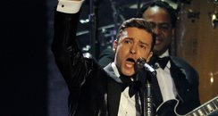 Justin Timberlake live on stage at the BRIT Awards