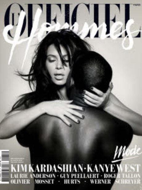 Kanye West and Kim Kardashian on the cover of L'Officiel Homme