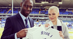 Jessie J and Ledley King at football game