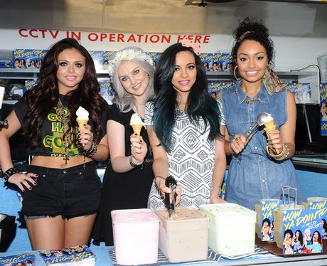 Little Mix selling ice creams in a van