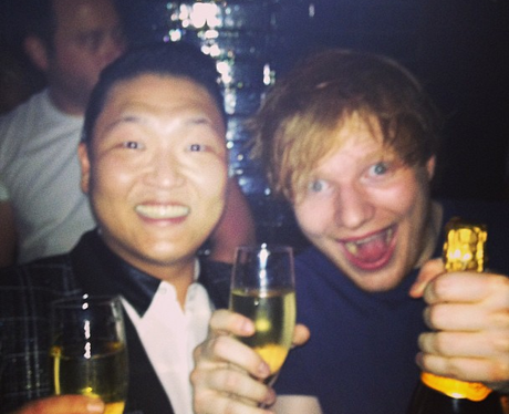 PSY and Ed Sheeran in a Twitter picture