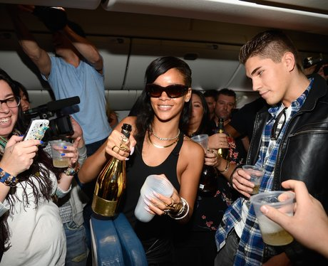 Rihanna on her 777 tour plane
