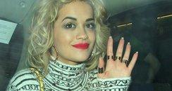 Rita Ora in a taxi