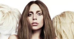 Lady Gaga press photo with blonde wigs