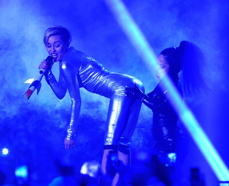 Miley Cyrus performs live on stage at the MTV EMA'