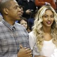Jay Z and Beyonce attend basket ball game