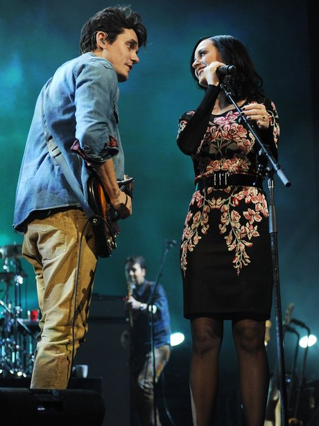 Katy Perry and John Mayer on stage
