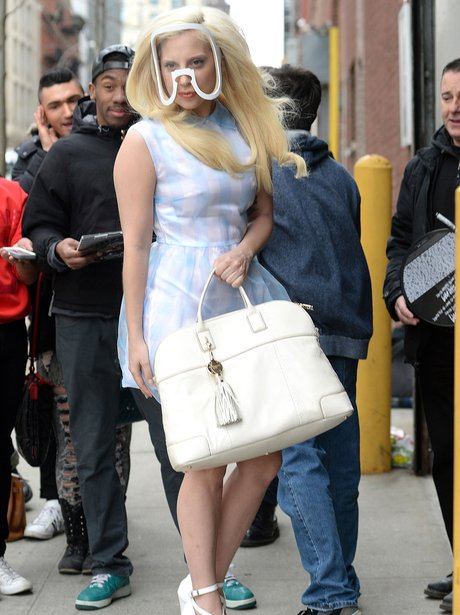 Lady Gaga pictured in New York wearing a mask