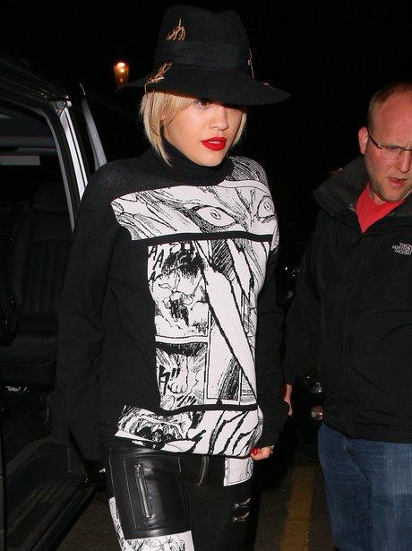 Rita Ora wearing a monochrome outfit