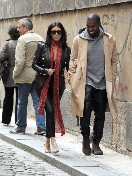 Kim and Kanye West sightseeing in Prague