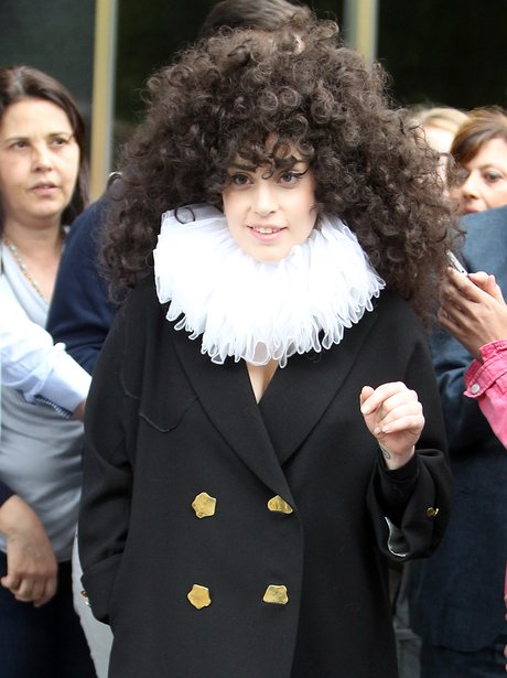 Lady Gaga with curly hair