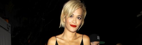 Rita Ora wearing a black dress on a night out