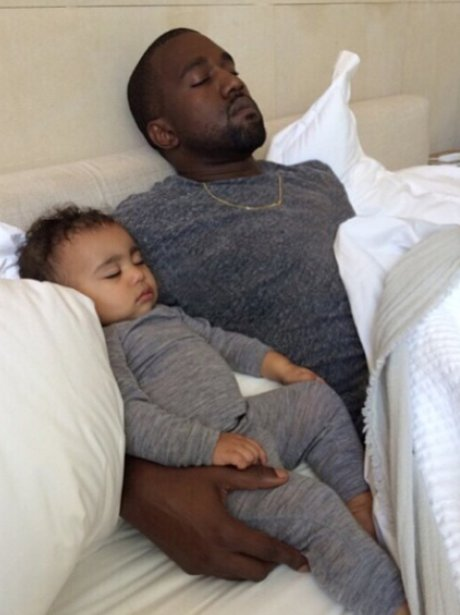 Kanye West and Baby North Sleeping on Fathers Day
