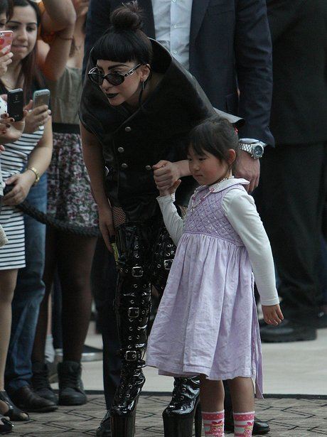 Lady Gaga with a young fan