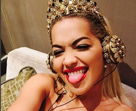 Rita Ora Selfie Gold Crown Instagram