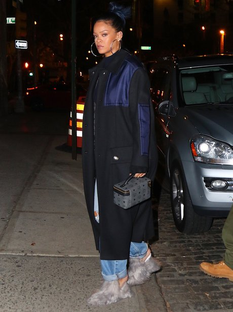 Rihanna wearing fluffy shoes