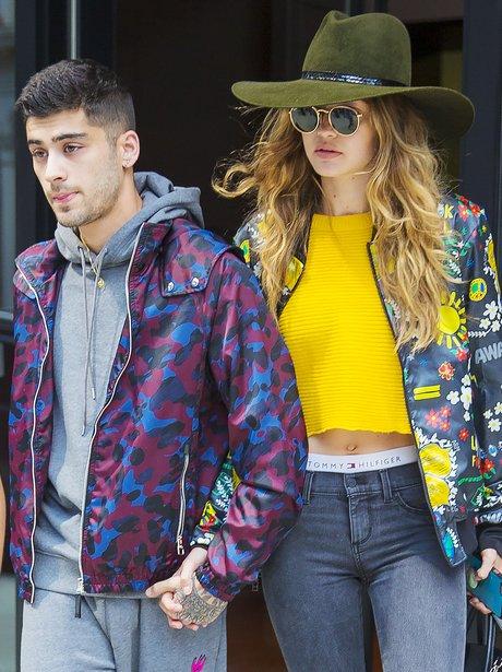 Gigi Hadid and Zayn Malik contrast in bold jackets