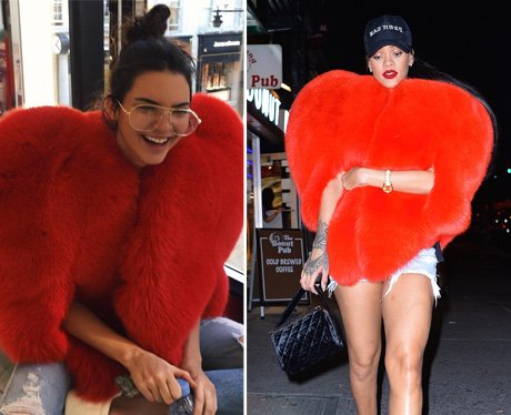 Kendall Jenner and Rihanna wear the same bold red
