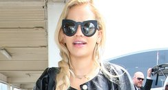 Rita Ora wearing leather